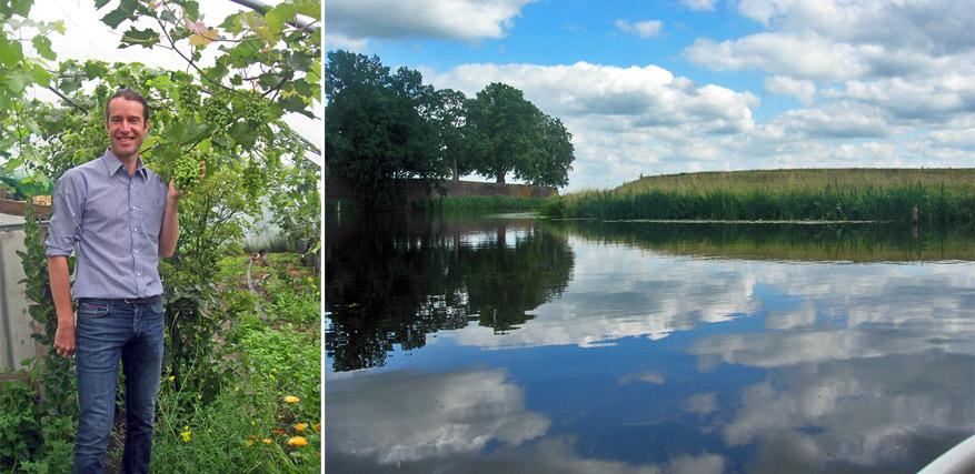 Links: Sjef van Dongen met zijn Fruitz for Life. Rechts: de rustgevende natuur van Noord-Brabant.