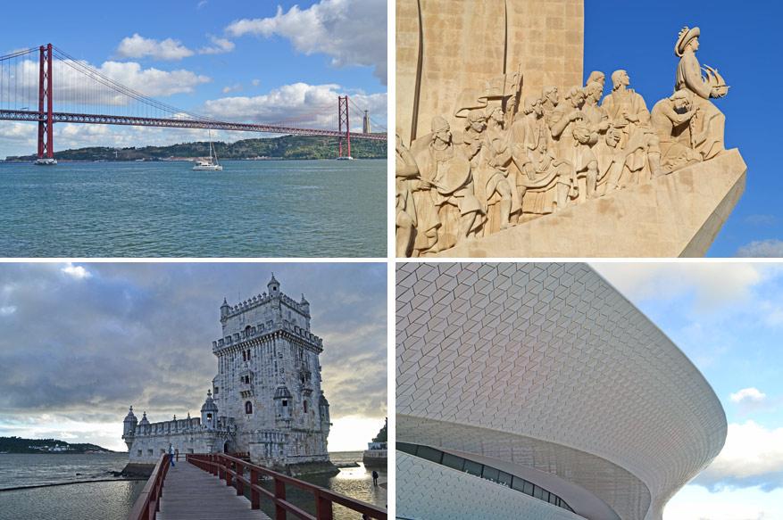 Van links naar rechts: De 25 aprilbrug, het Padrão dos Descobrimentos, Torre de Belém en het MAAT.