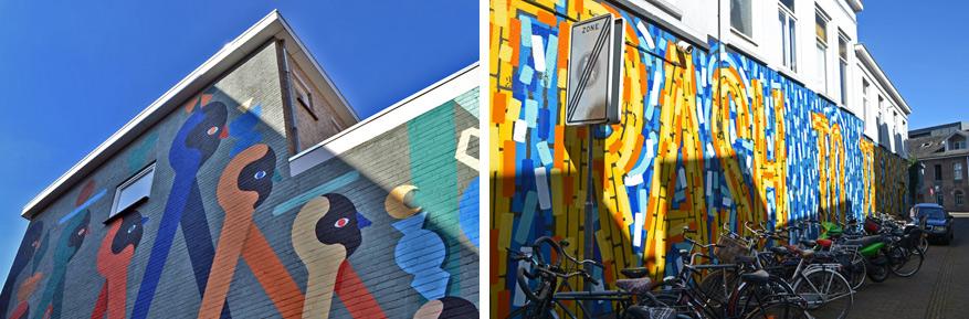 Links: het Belgische duo Hell'O liet zich voor dit werk inspireren door het uitzicht op winkelend publiek vanuit de Bleekstraat. Rechts: 'Trash to Treasure' verwijst naar een man die onwetend werken van Van Gogh voor een dubbeltje per stuk verkocht.