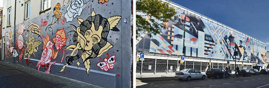 Links: een ode aan 'Bunker Tattoo', inmiddels een begrip in Breda als het gaat om tatoeëren. Rechts: tegen de gevel van de oudste parkeergarage van de stad (1968) hangt een werk van Aron Vellekoop León over mobiliteit.