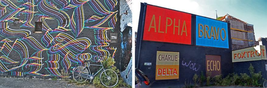 Links: de Nederlander Job 'Letman' Wouters laat zijn energie de vrije loop in dit kleurrijke werk met grillige vormen. Rechts: Amerikaan Jeff Canham refereeft met zijn werk naar het oorlogsverleden van Breda.