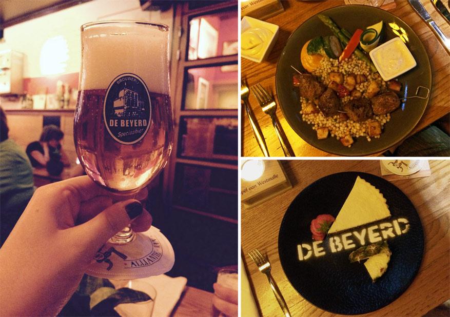 Restaurant De Beyerd verwent onze smaakpapillen met een lamsbrochette, een stukje cheesecake en een proefertje Drie Hoefijzers Klassiek.