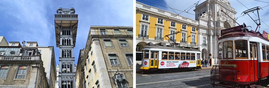 Geniet van het uitzicht op de toeristische attractie Elevador de Santa Justa of laat je rondrijden in de gele en rode trammetjes.