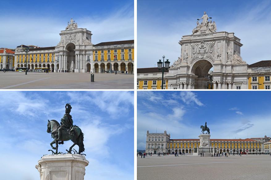Praça do Comécio met het standbeeld van Koning José I.