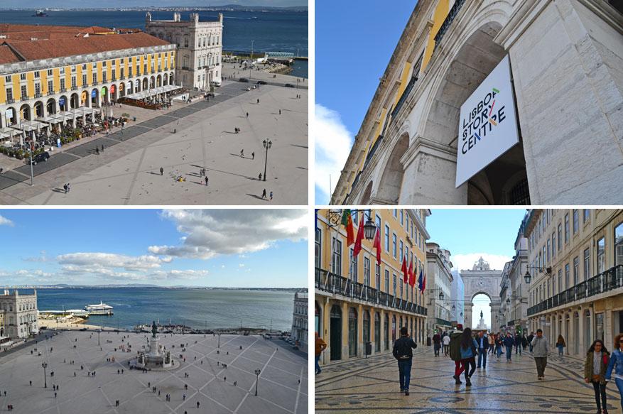 Vanop de boog heb je een mooi uitzicht op heel Praça do Comércio waar het Lisbon Story Centre ligt en Rua Augusta.