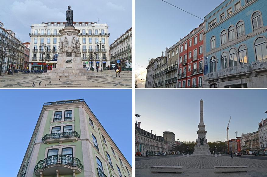 Lissabon kent een heel aantal wijken met indrukwekkende pleinen en architectuur. Linksboven het beeld van dichter Luís de Camões.