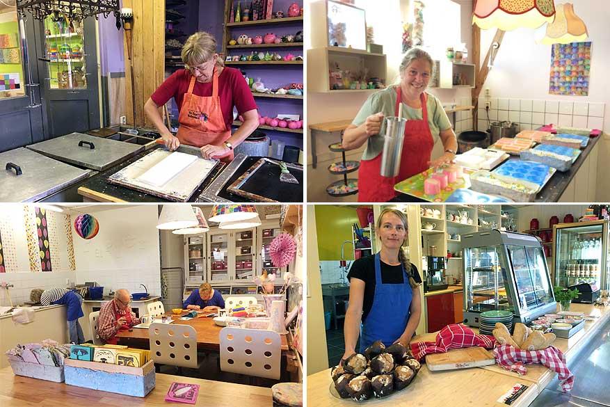 In De Bonte Belevenis help je mee kaarsen en zepen maken, papier scheppen en brood bakken.