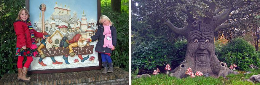De meisjes op ontdekking in het Sprookjesbos.
