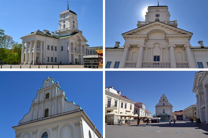 Liberty Square met bovenaan het stadhuis en onderaan de Holy Spirit Church.