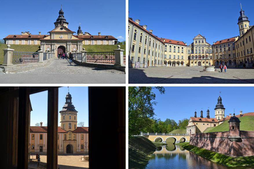 De gigantische binnenplaats van Nesvizh Castle.