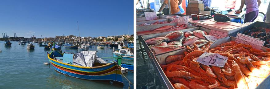 Het idyllische Marsaxlokk met elke dag verse vis!
