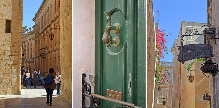 Details en smalle straatjes in Mdina.