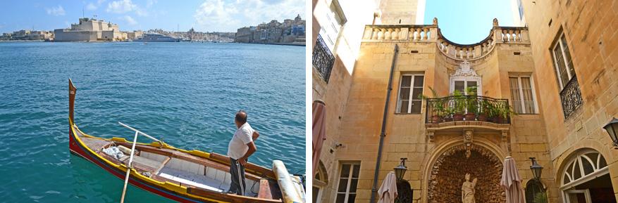 Links: een traditioneel boottochje. Rechts: de exotische binnenplaats van BeBirgu.